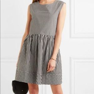 Madewell gingham black white dress size Large